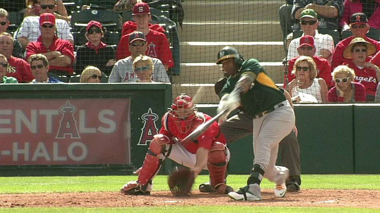 Cespedes hits two-run double as Lowrie scores twice
