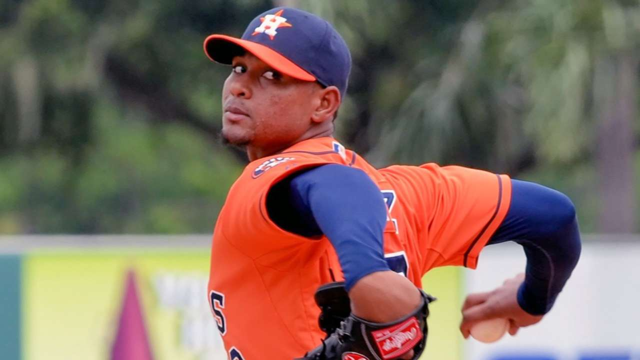 Astros' prospect Feliz throws eight scoreless