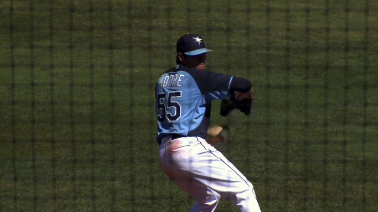Moore solid as Rays top Phils with five-run frame