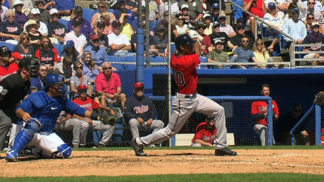Buxton flashes power with first spring homer