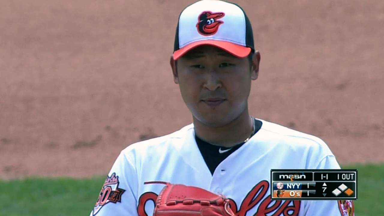 Yoon delivers scoreless debut for Orioles