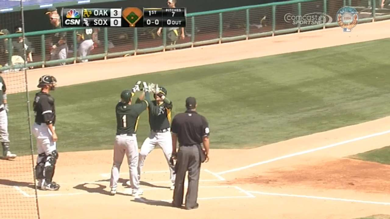 A's nine-run first sets tone in spring rout