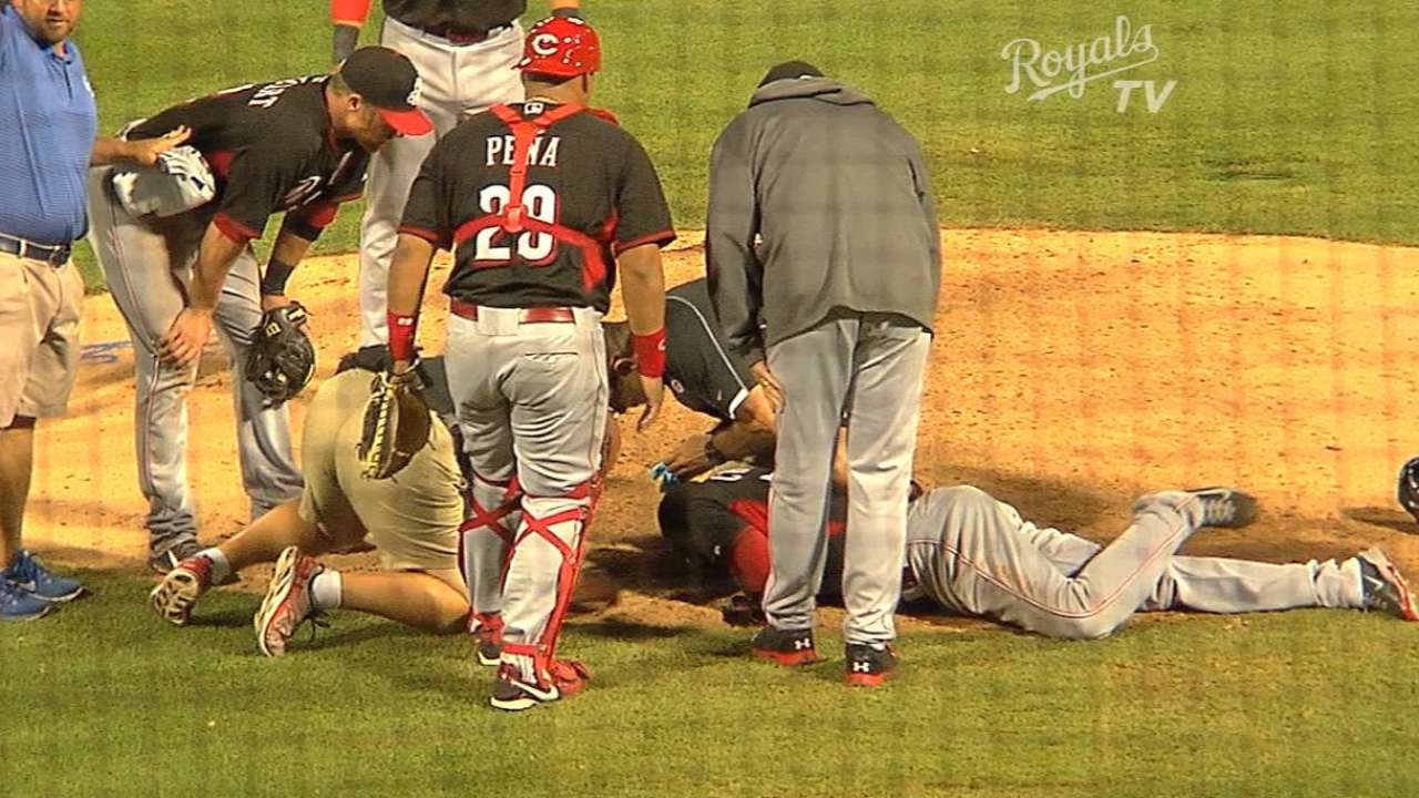 Game canceled after Reds' Chapman hit in head