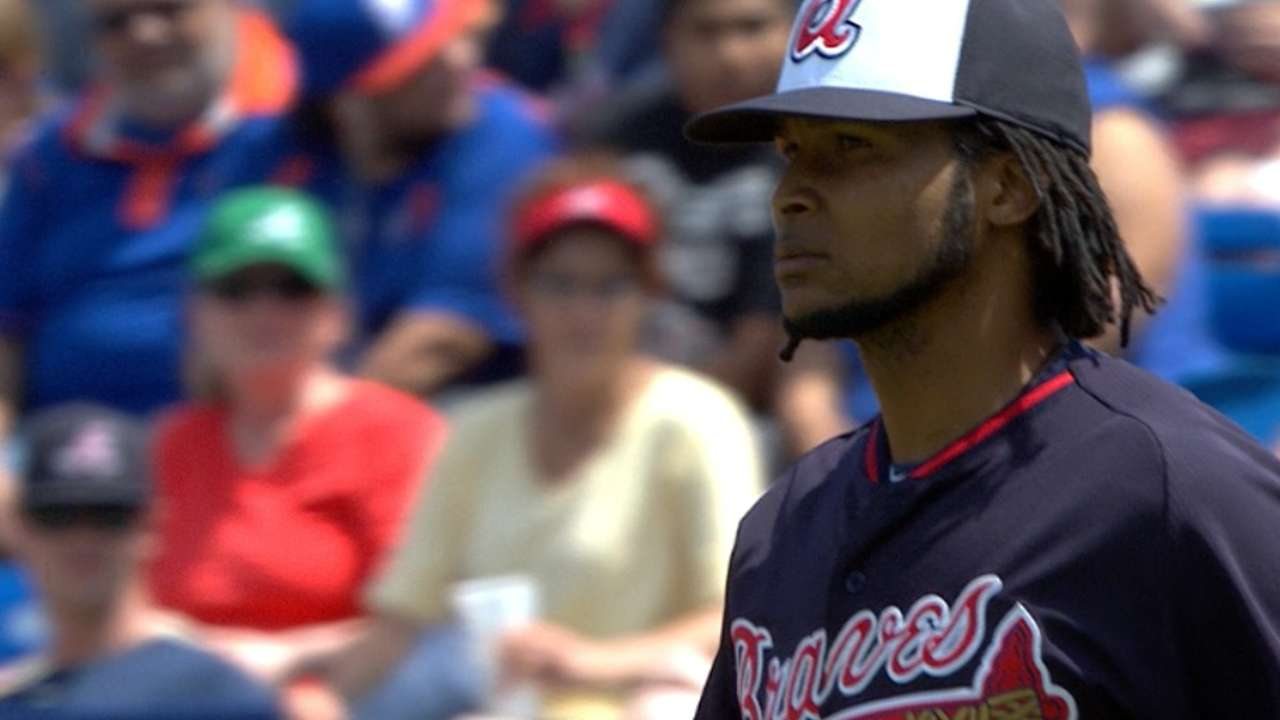 Santana goes two innings in Braves' debut