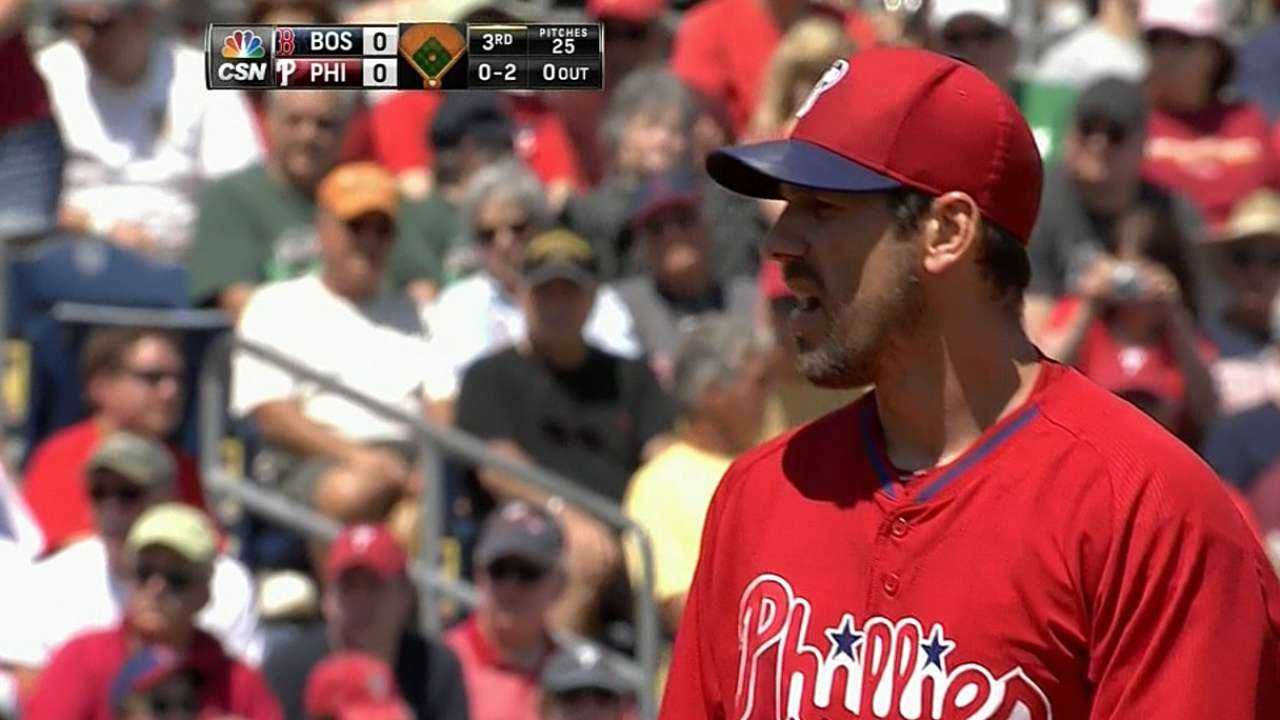 Lee works six solid innings against Red Sox