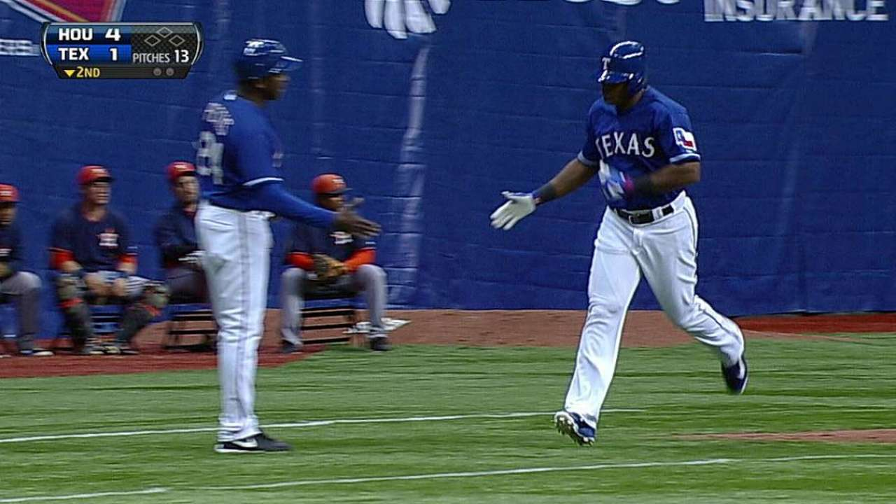Beltre, Choice crank home runs in loss to Astros
