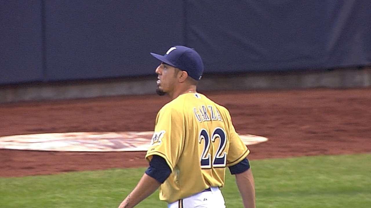 Garza's no-hit bid spoiled as Crew drops series