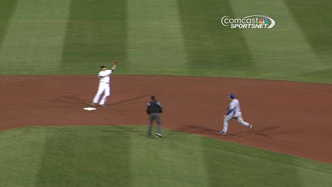 Cubs score first run after call overturned
