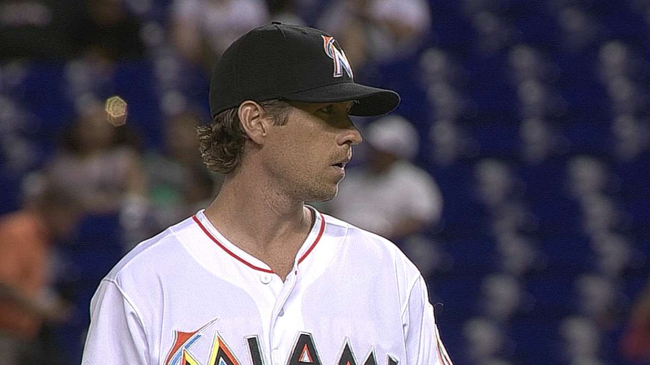 Marlins move Slowey into rotation, Hand to 'pen