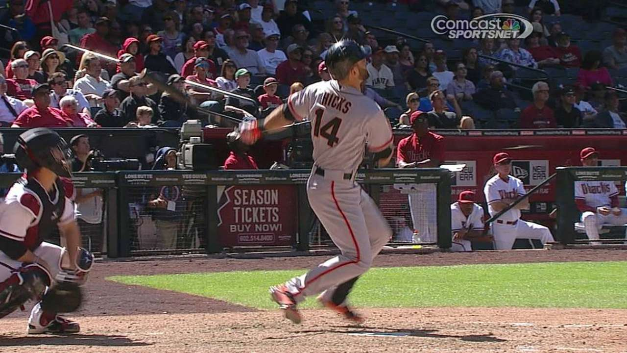 Infielder Hicks ready for rare start with Giants