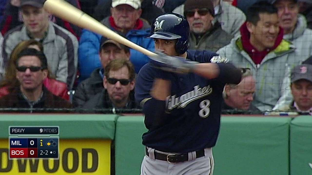 Braun limited to designated-hitter duty by thumb