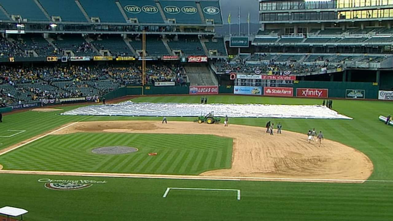 Soggy field conditions postpone game at Coliseum