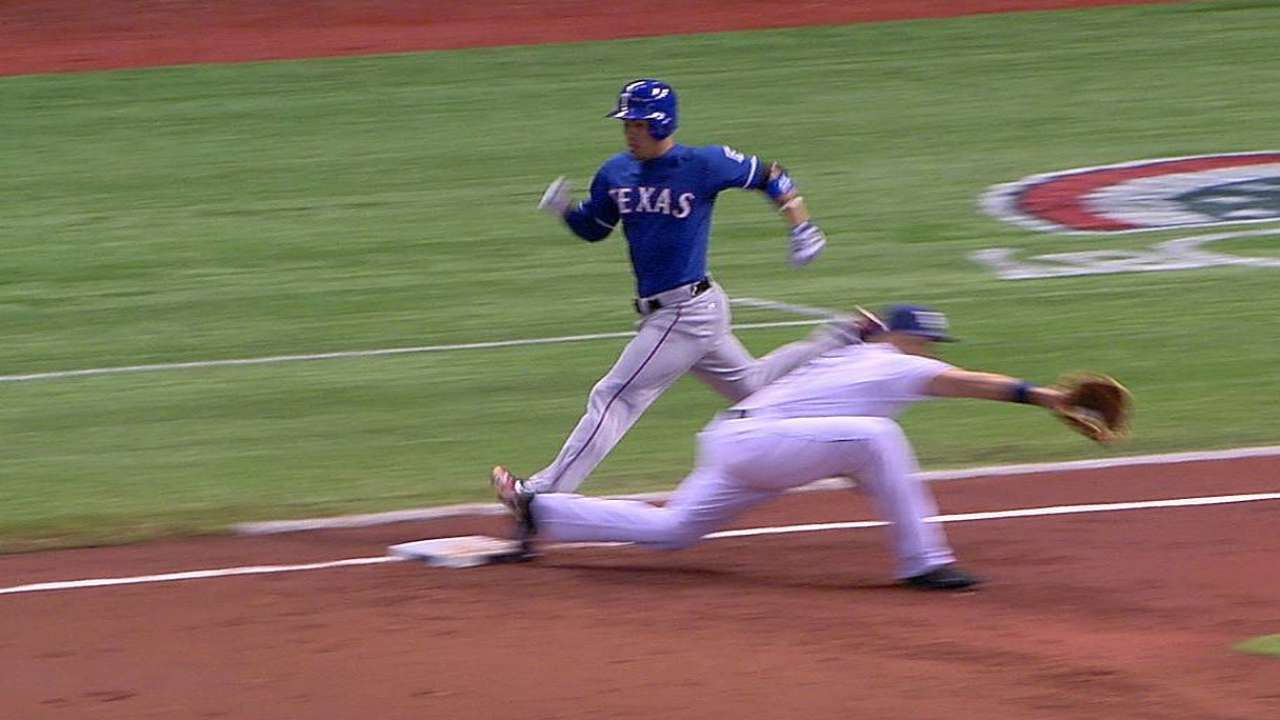 Rays win replay challenge of Rangers' infield single