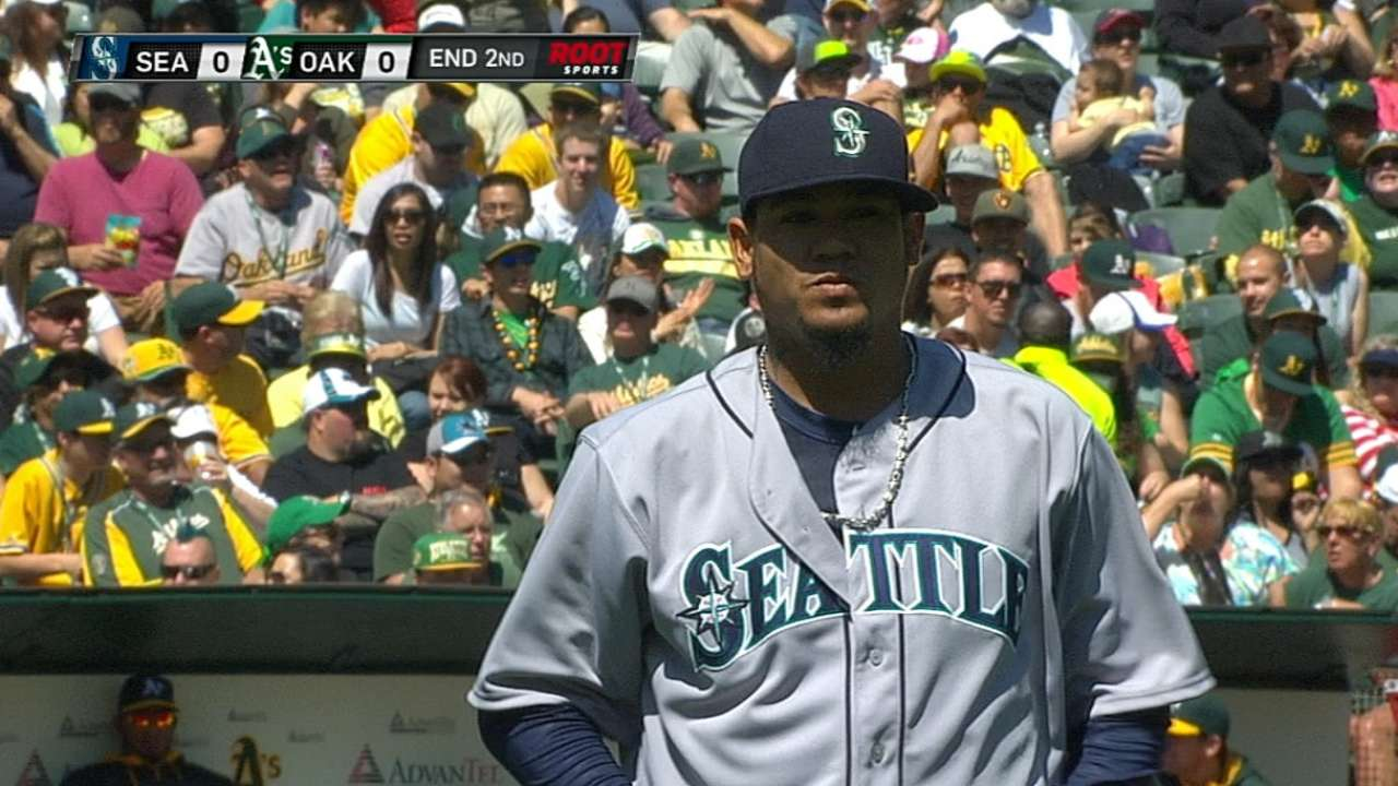 Felix continues dominance of A's with near-shutout