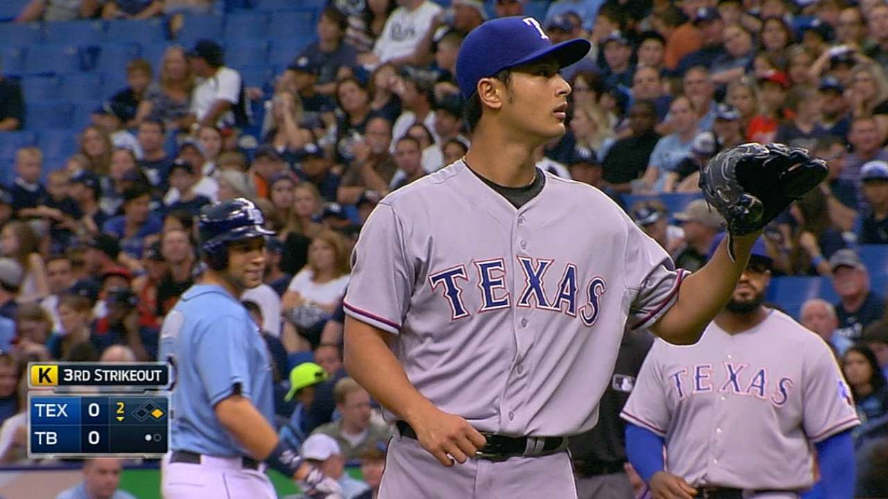 Darvish's big return boosted by Andrus' homer