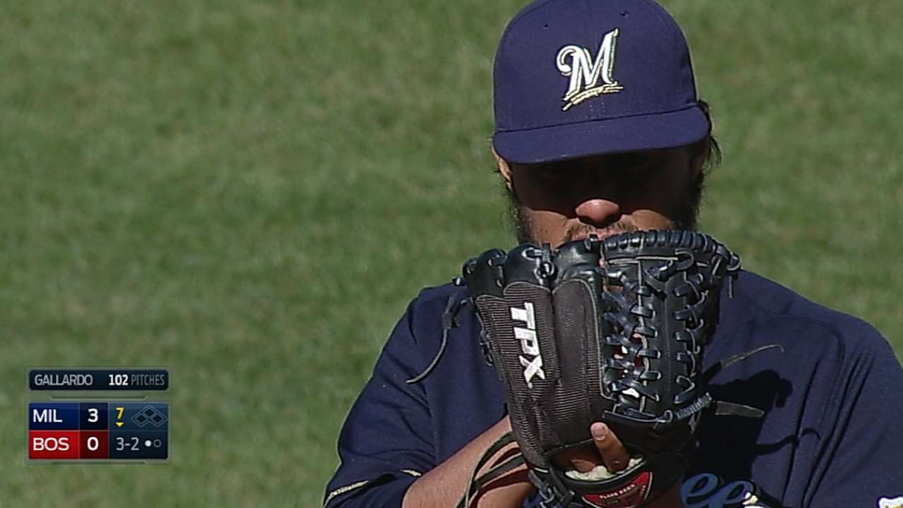 Gallardo, Brewers shut out Red Sox, complete sweep