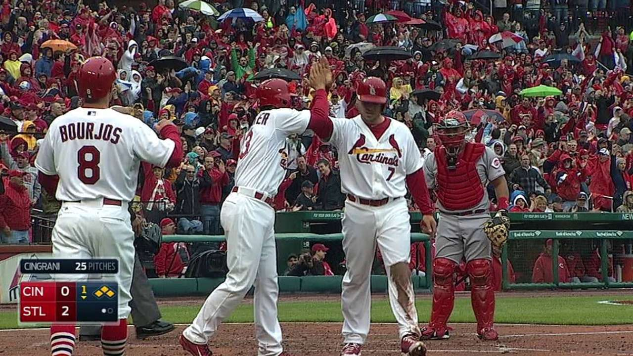 Cards do what Reds cannot in victorious home opener