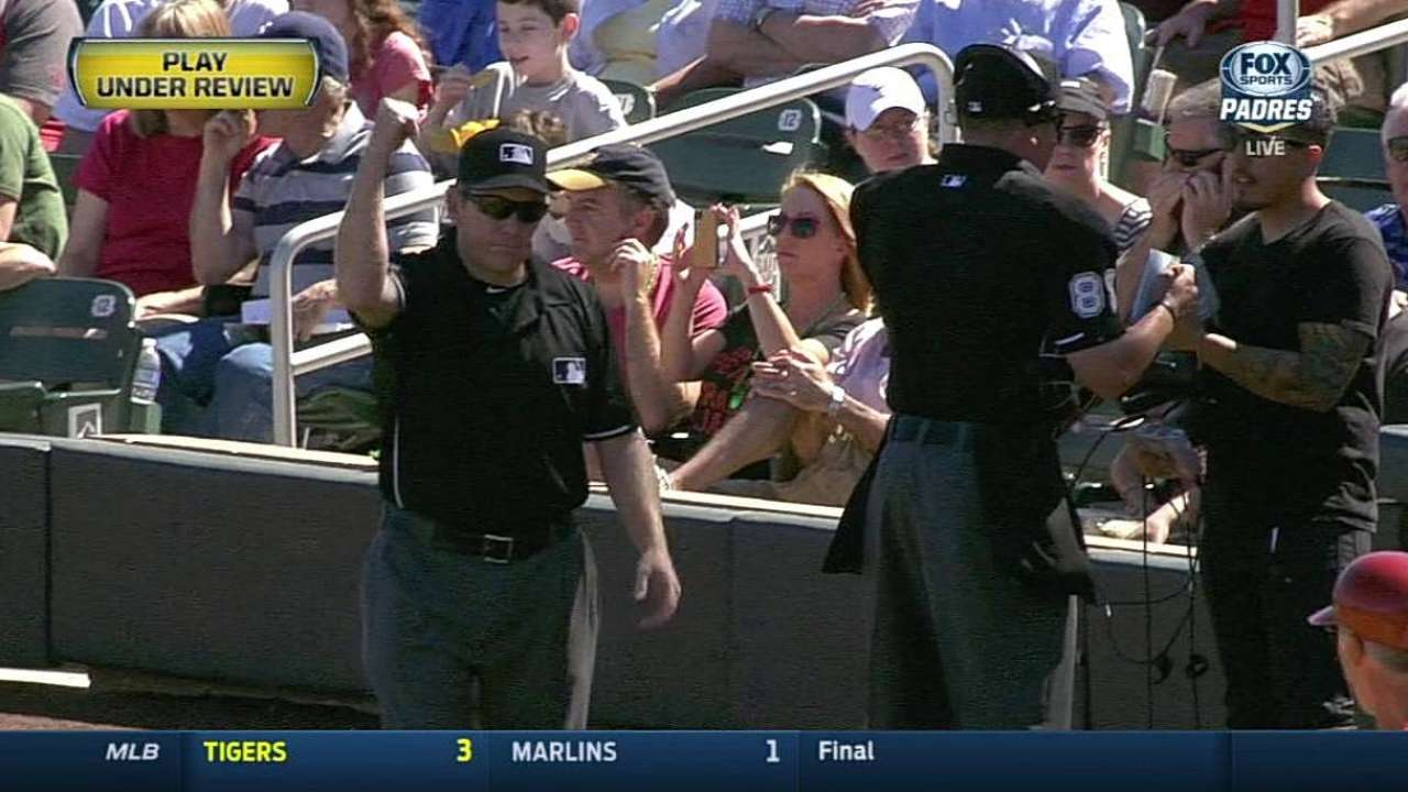 Pair of calls upheld by replay in Padres-D-backs game