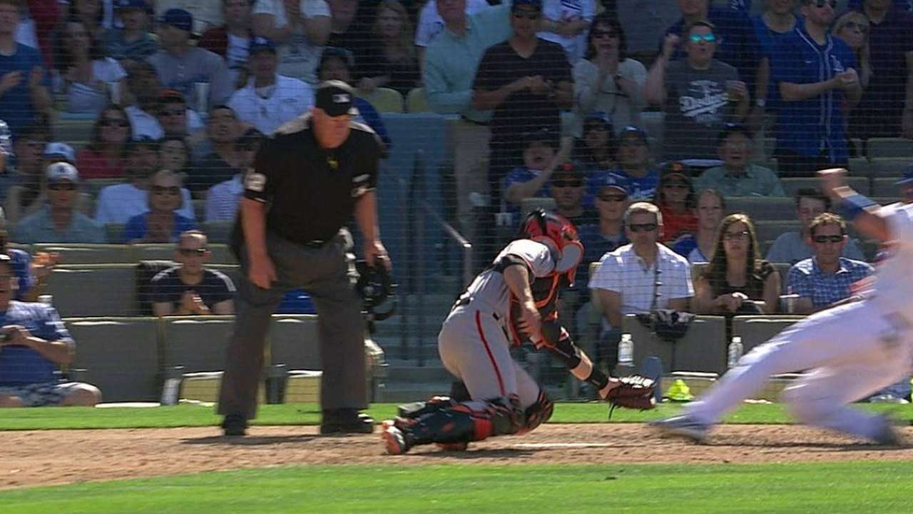 Dodgers lose challenge on call at home plate