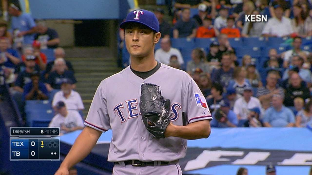 In season debut, Darvish fastest starter to 500 K's
