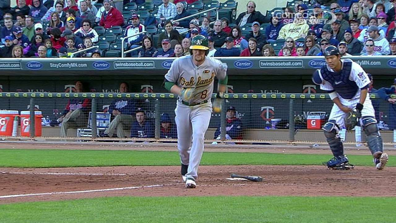 Lowrie bruises lower leg after being hit by pitch