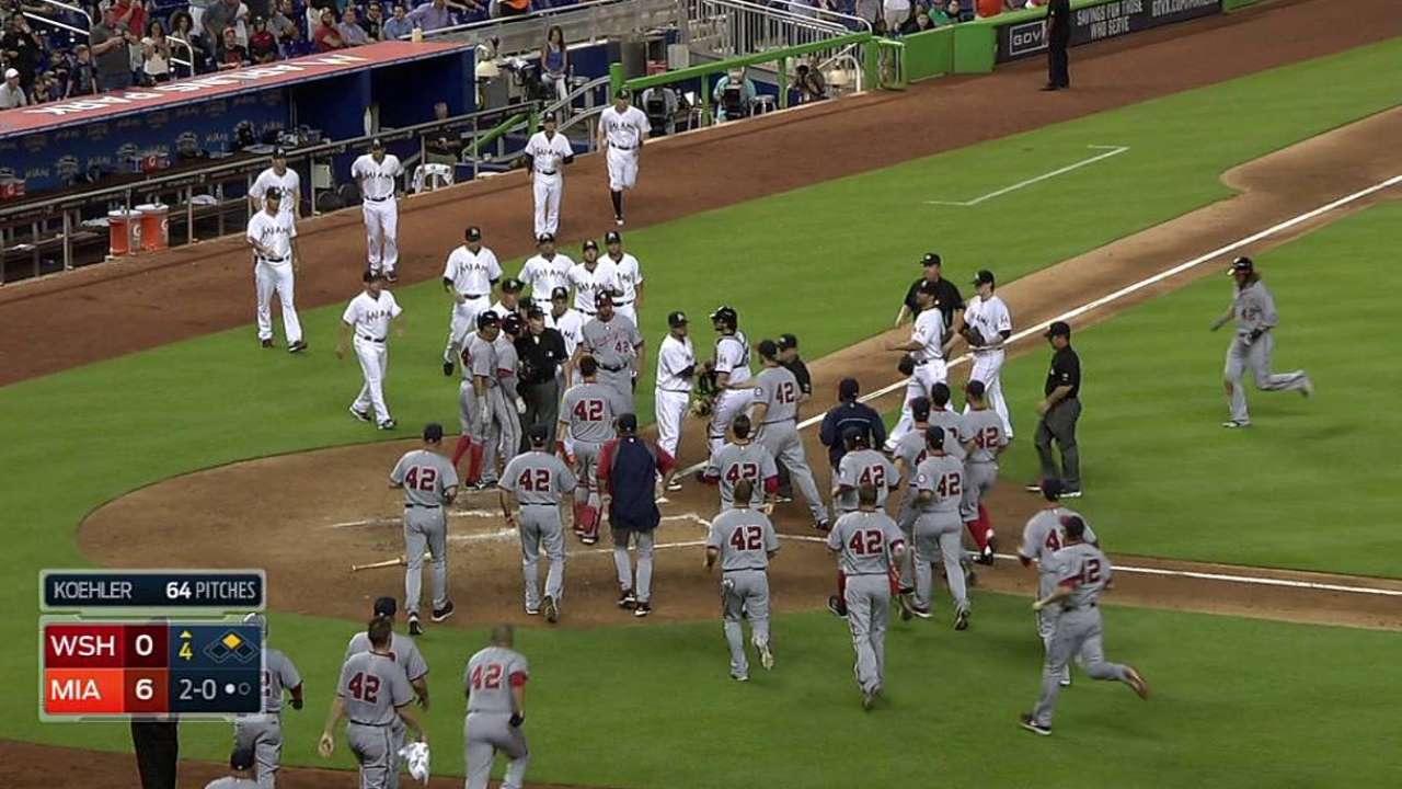 Tempers fizzle after benches clear in Miami