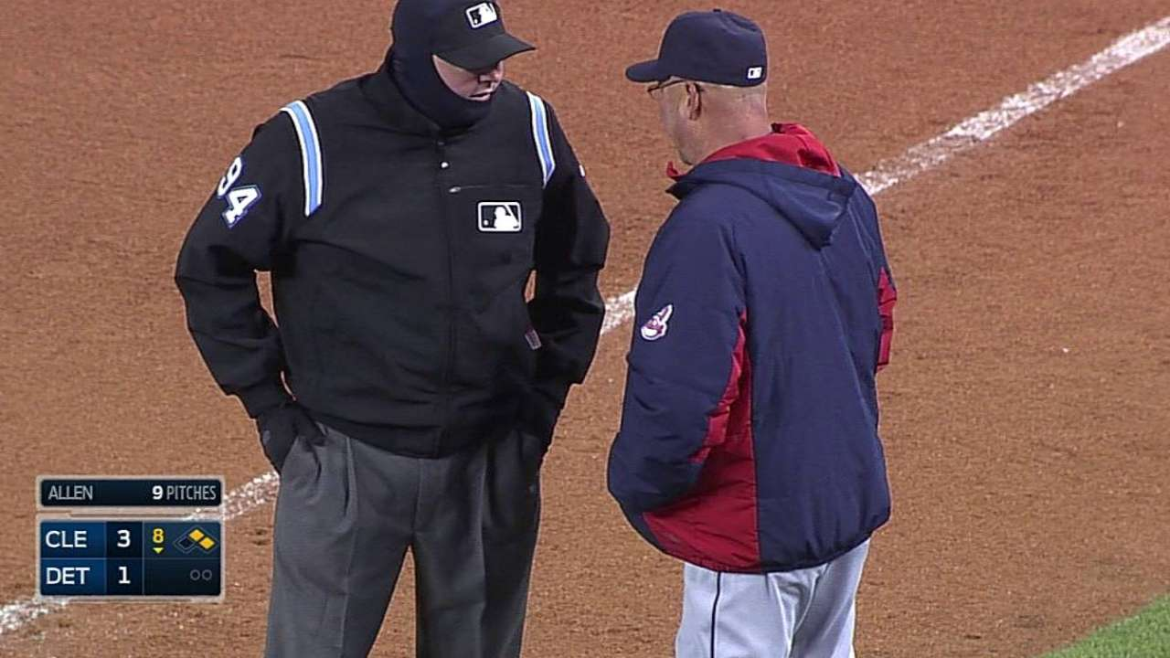 Safe call at first stands after Indians challenge