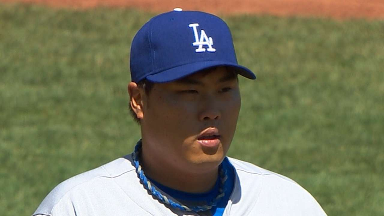 Ryu slated for Wednesday; Maholm to bullpen