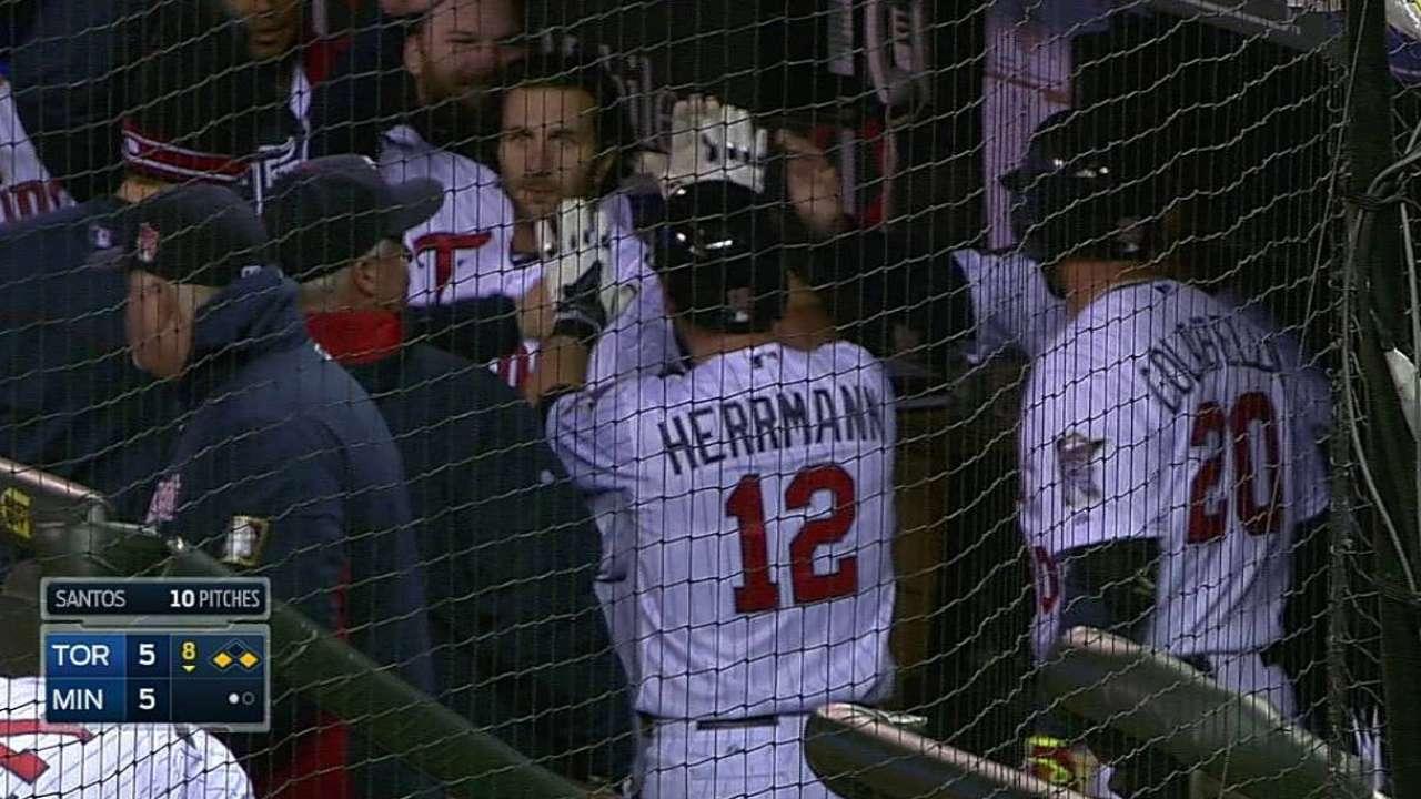 Twins recall outfielder Herrmann, option Tonkin