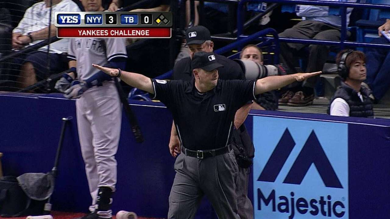 Call at first overturned on Yanks' challenge