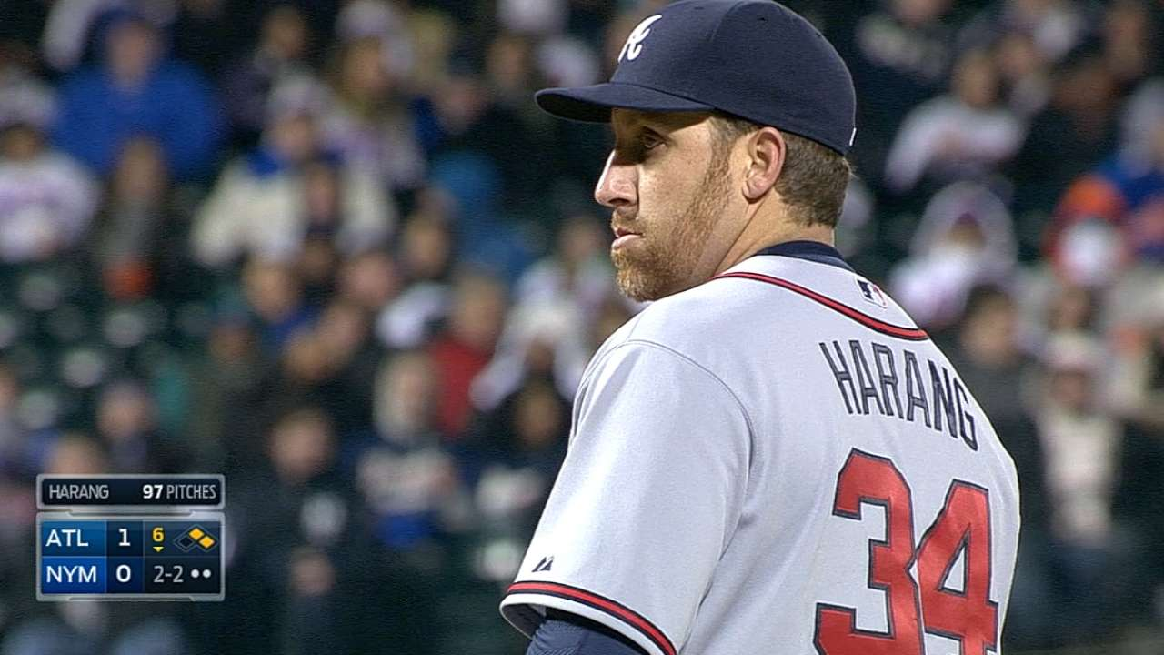 Bullpen preserves gem after Harang flirts with history