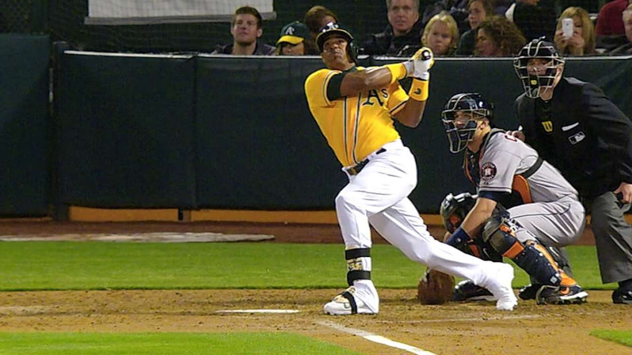 A's launch four homers in thrashing of Astros