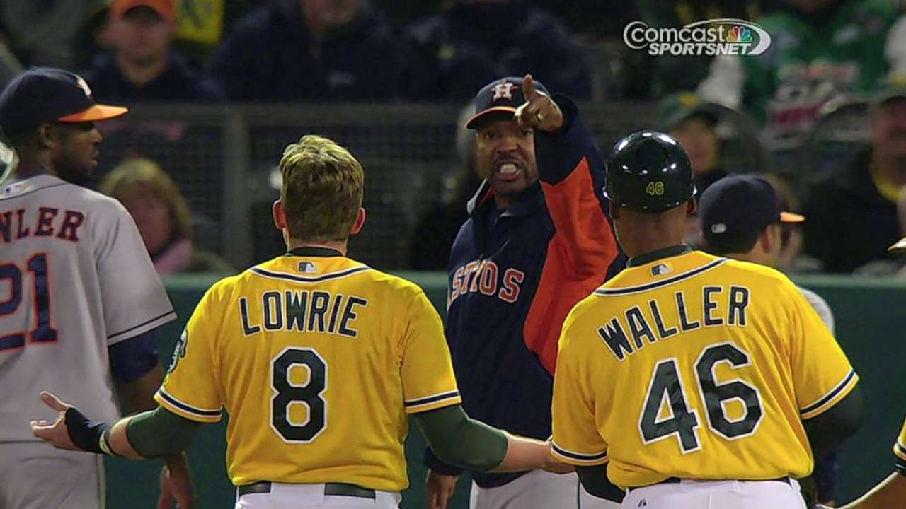 Lowrie, Porter exchange words in Oakland