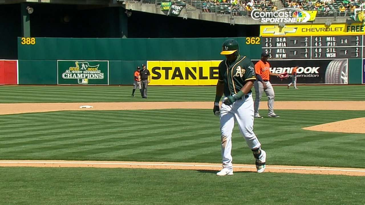 Yoenis pulled with bruised right heel