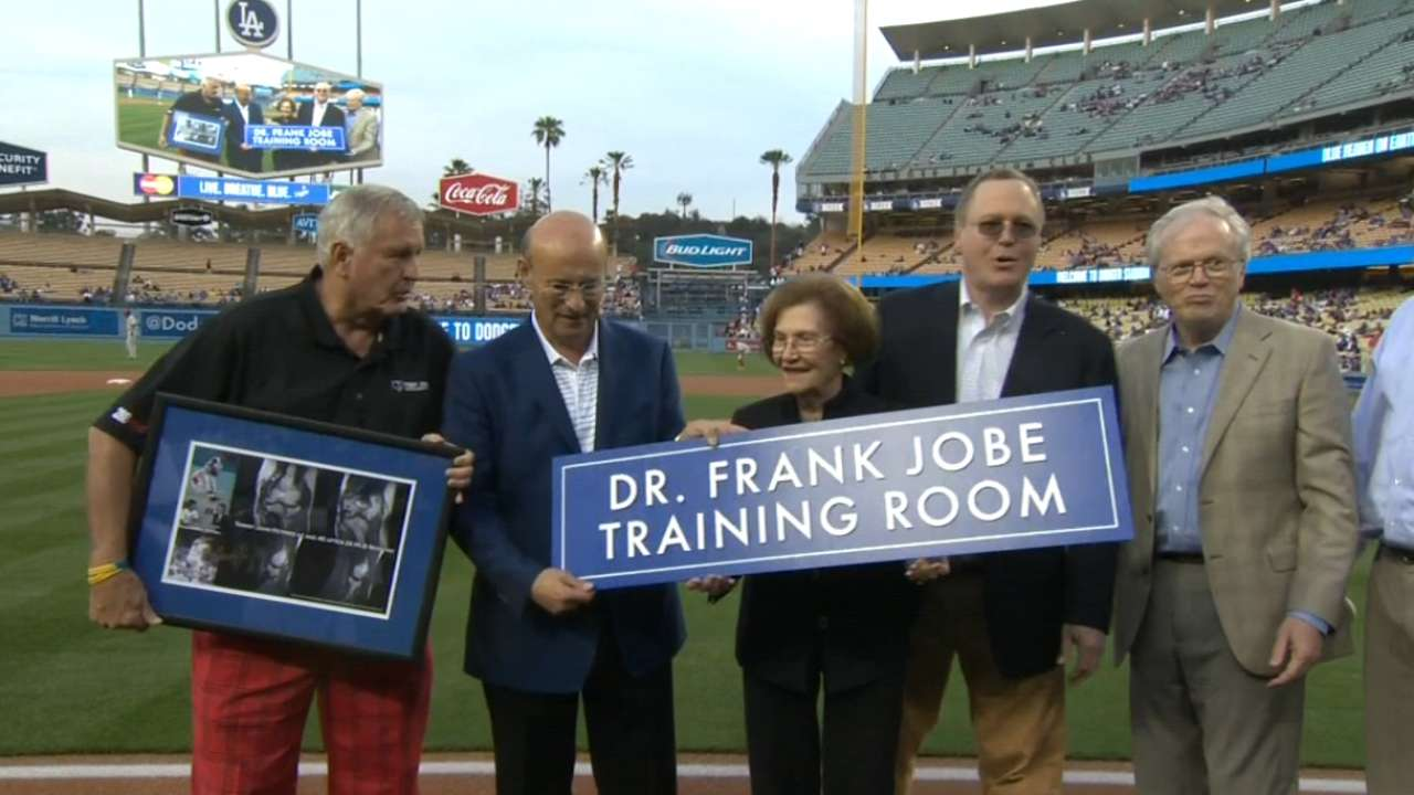 Dodgers name training room after Dr. Jobe