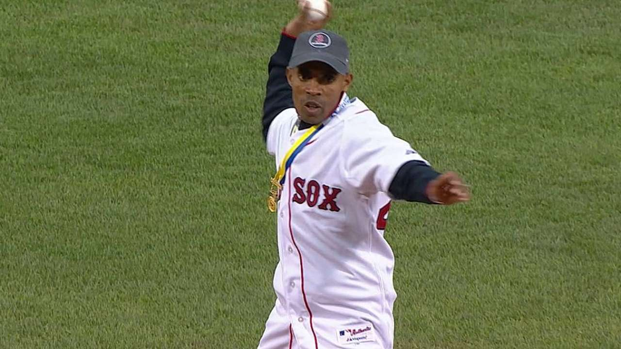 Boston Marathon winner tosses out first pitch