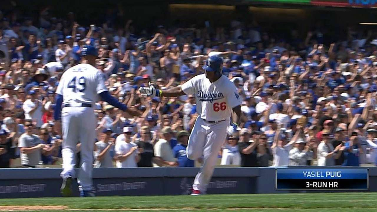 Puig hits decisive homer in LA's gutsy three-hitter