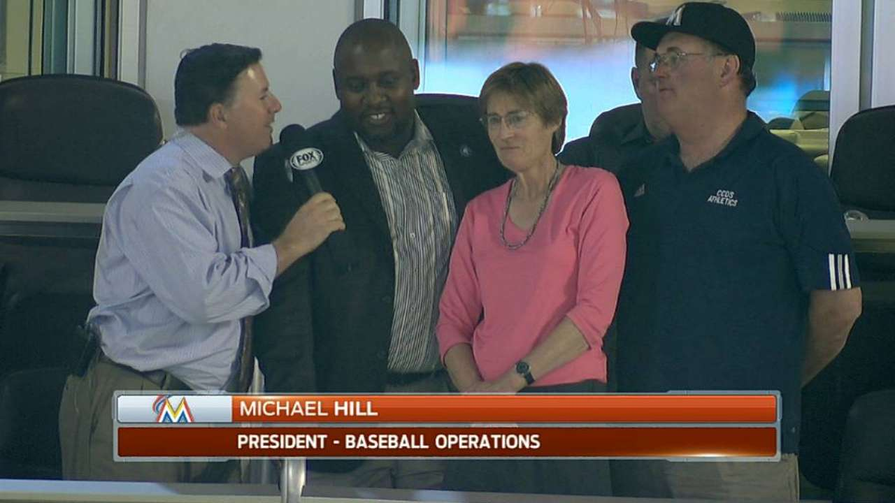 Marlins president recognizes favorite school teacher