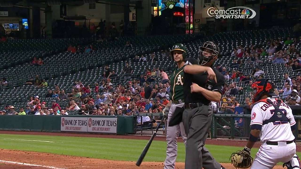 Clemens tossed for hitting Lowrie with pitch