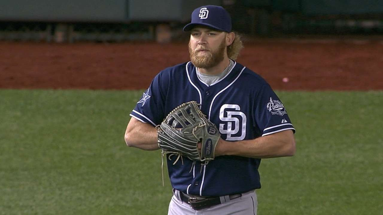 Padres ace Cashner plays left field for one batter