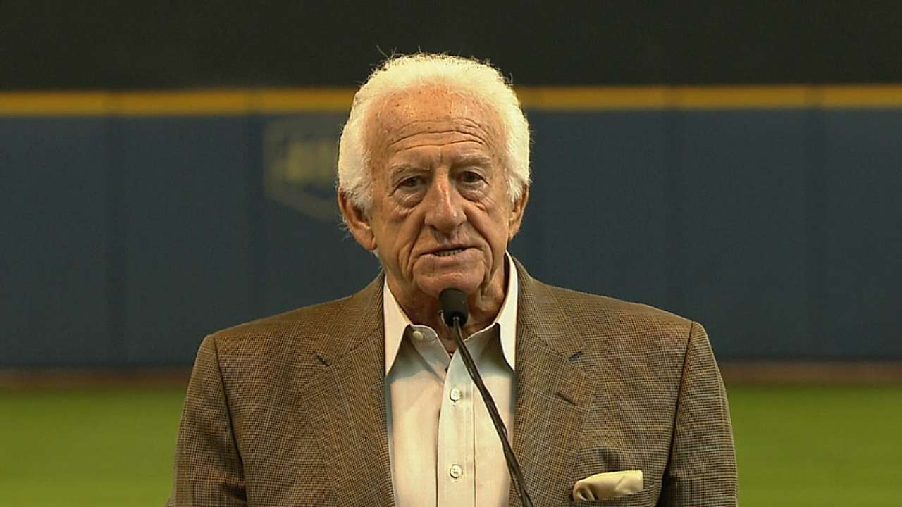 Uecker statue gets spot in last row at Miller Park