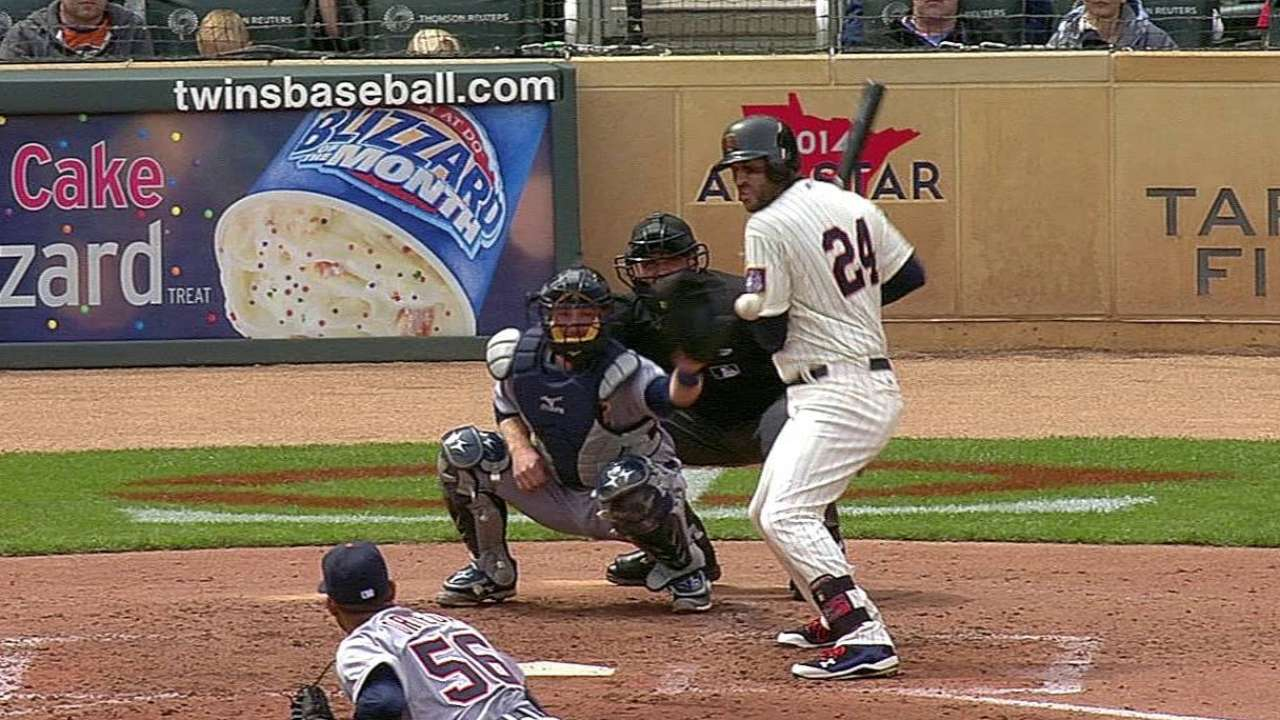 Plouffe pulled from game with triceps contusion