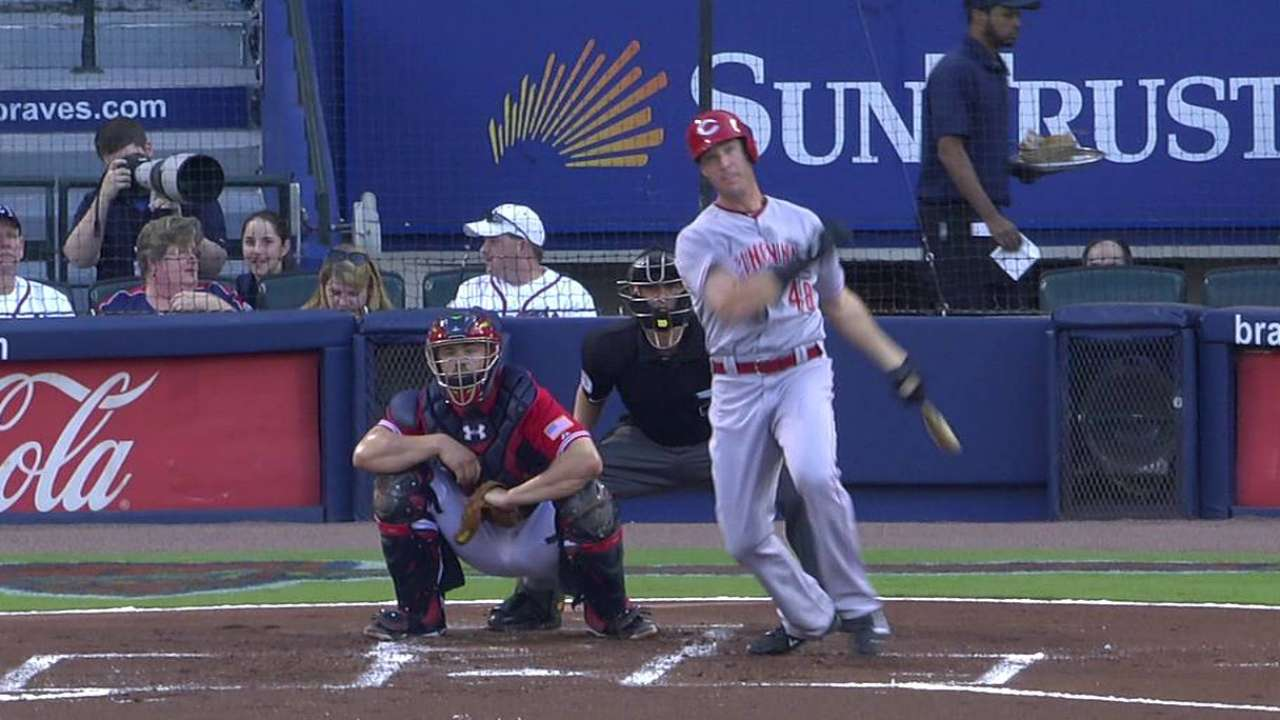 Reds shut down after first in loss to Braves