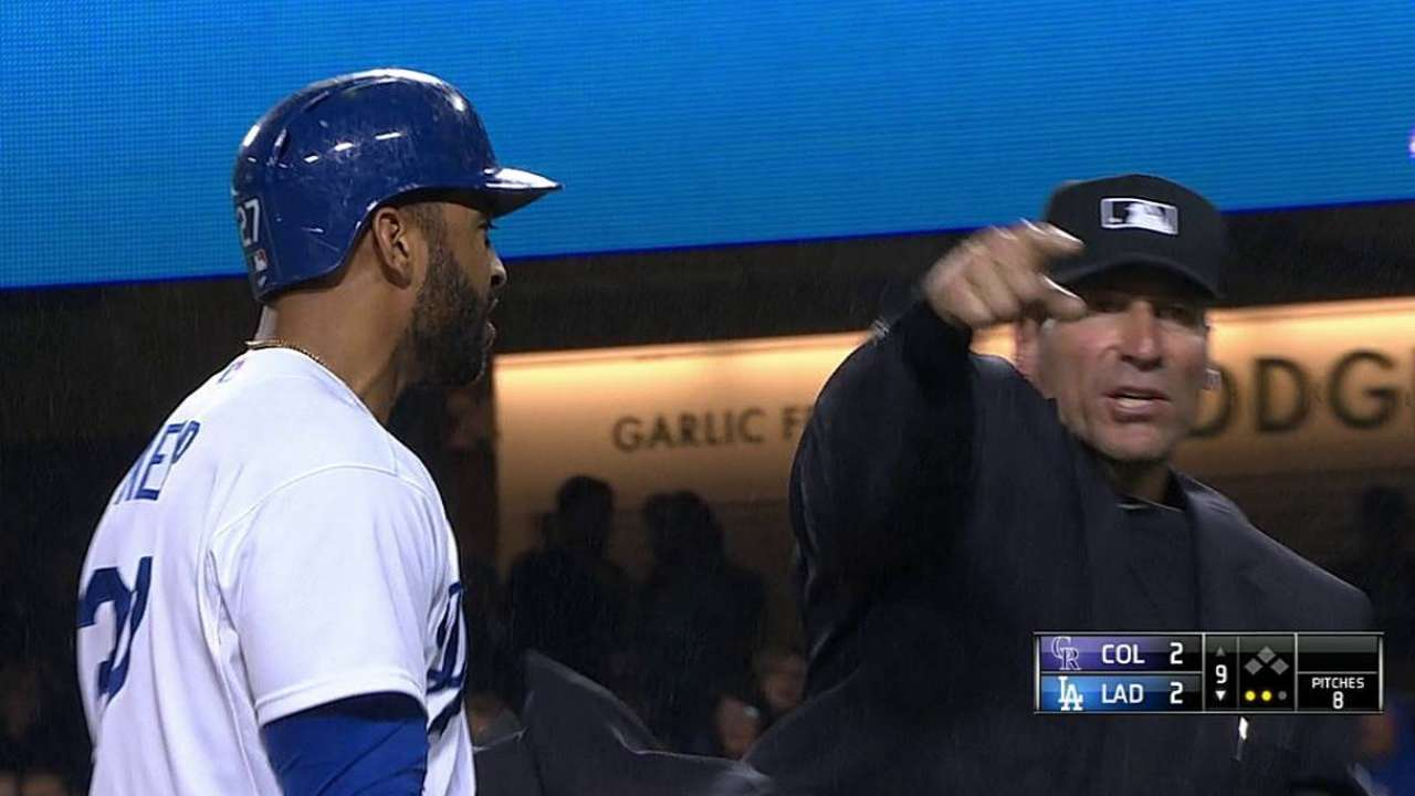Kemp ejected in ninth after arguing called strike three