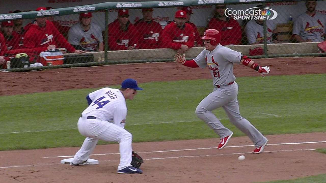 Cubs win challenge to end Cardinals' fifth inning