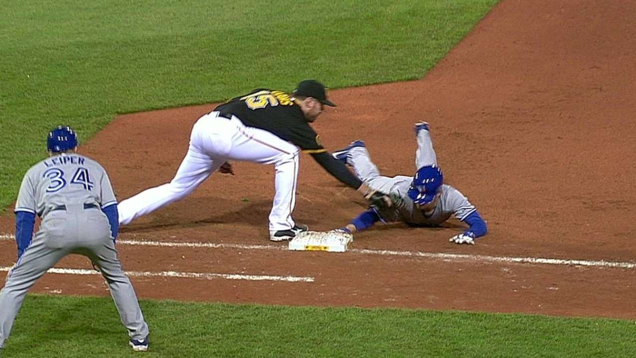 Blue Jays, Bucs lose challenges at first base
