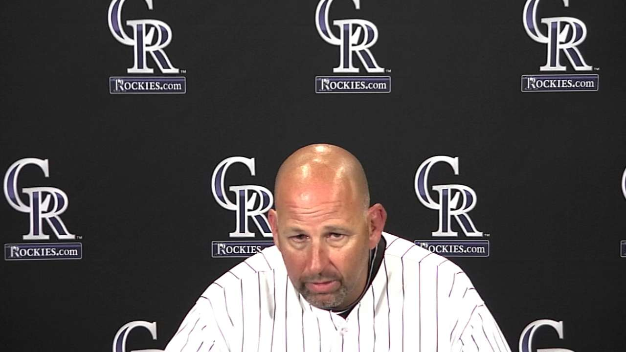 Weiss, Rockies not focused on road hitting