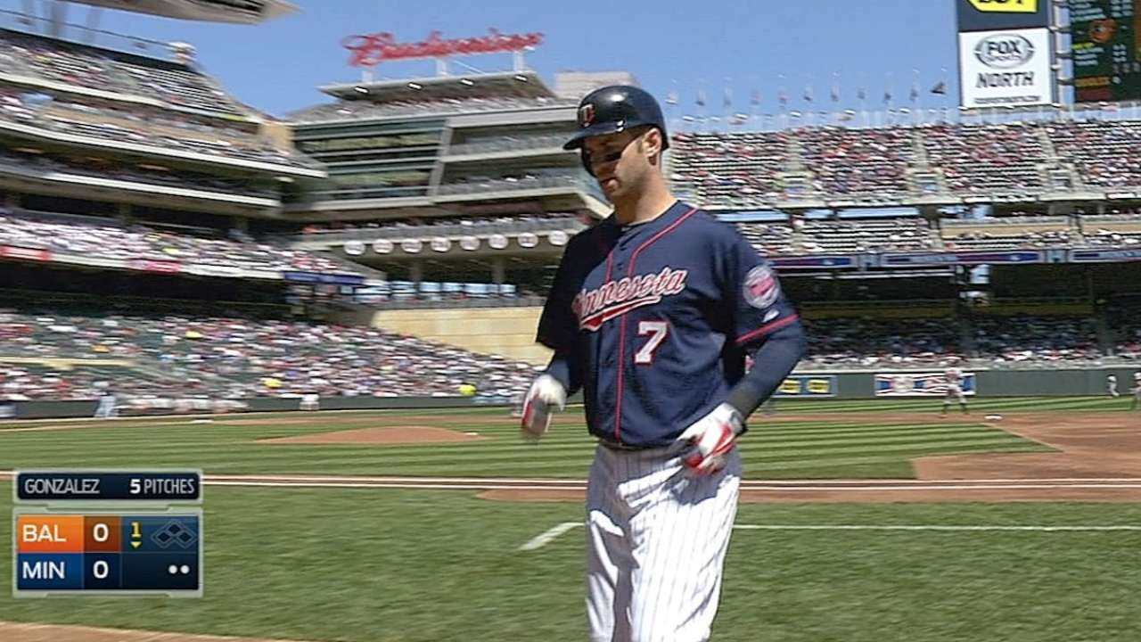 Mauer exits game with lower-back spasms