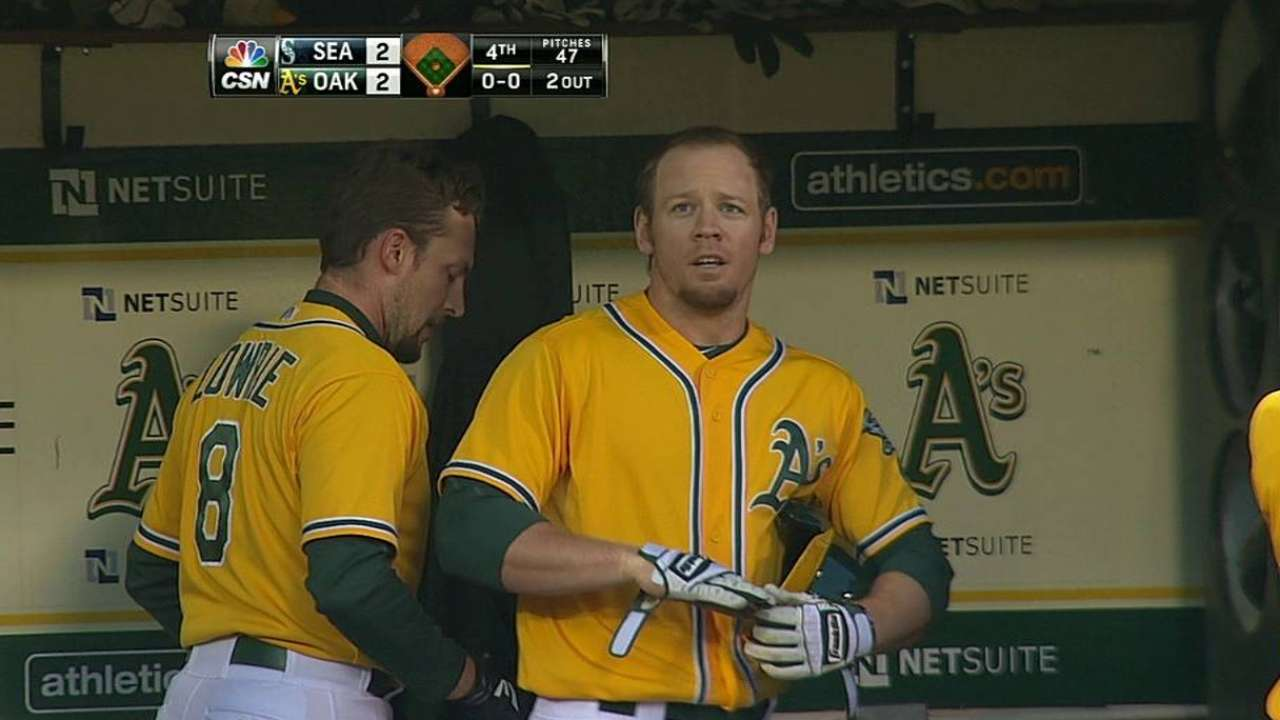 Kazmir takes first loss as A's bats go cold