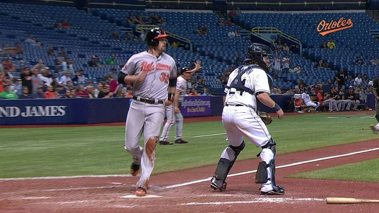 Orioles' two-run charge after delay foils Rays